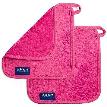Toallitas desmaquillantes reutilizables La Beauté - Toallas para cara ecológicas y lavables - Toalla de microfibra para limpieza facial - 21 x 21 cm - Rosa ...