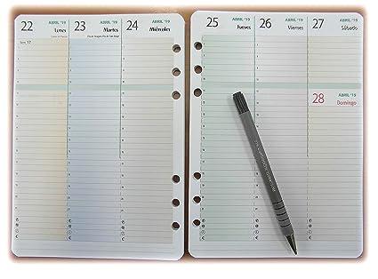 Recambio de Agenda A5 6 anillos de agosto 2018 a diciembre 2019