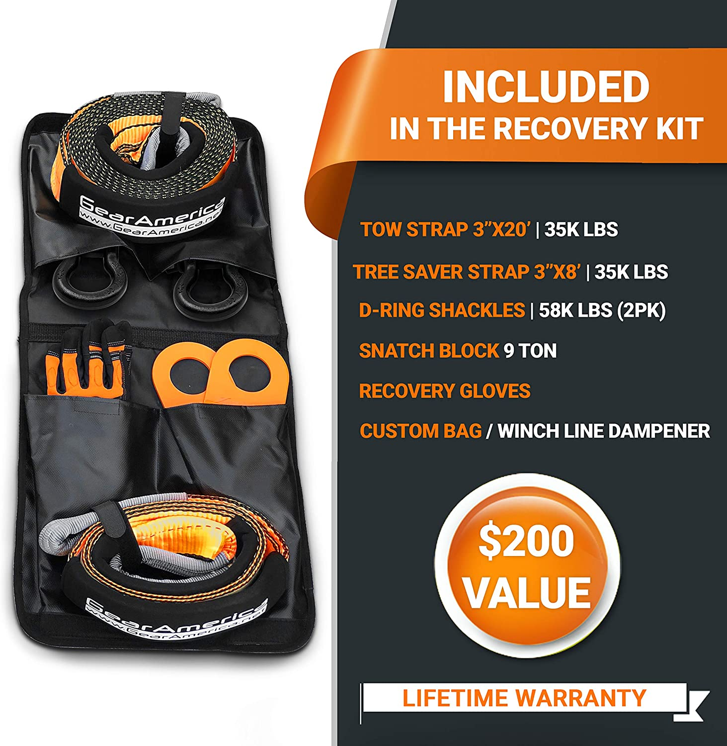 Autofonder 11Pcs Recovery Gear Offroad 4x4 kit-3 Pk Snatch Straps+2 D-Shackles+Snatch Block+Folding Survival Shovel+Tire Deflator Tow Strap Recovery Set Gear Bag Leather Gloves+Winch Dampener