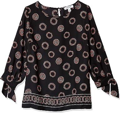 Nanquan Women Irregular Hem Printed Crew Neck Flare Sleeve Blouse T-Shirts Tops