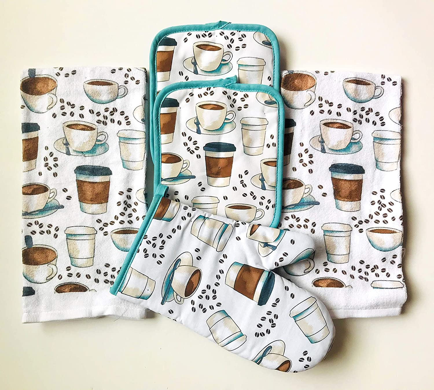 5 PC NEW Aqua Oven Mitt Dish Towel Kitchen Towel Set Pot Holders