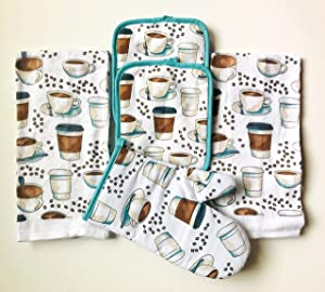 Mainstay 5 Piece Kitchen Set Includes 2 Kitchen Towels, 1 Pot Holders, 2 Oven Mitts (Coffee Cups Galore)