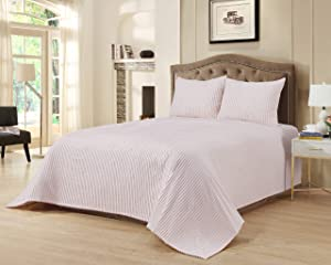 Beatrice Home Fashions Channel Chenille Bedspread, Queen, Blush