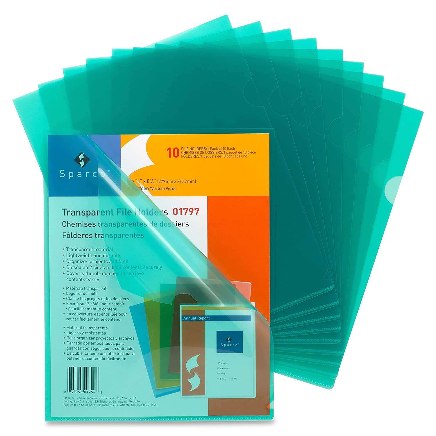 Business Source Transparent Poly File Holders 01797BX