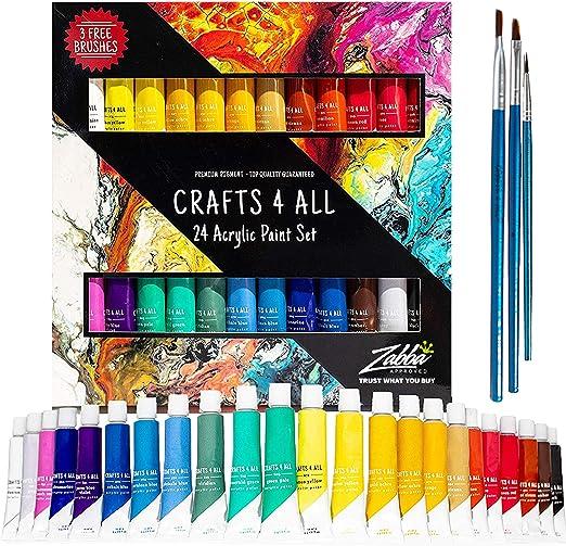 Pintura acrílica 24 set de Crafts 4 All para papel, lienzo, madera ...