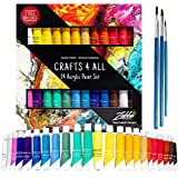 Acrylic Paint Set 24 Colors by Crafts 4 ALL Perfect for Canvas, Wood, Ceramic, Fabric. Non Toxic & Vibrant Colors. Rich Pigme