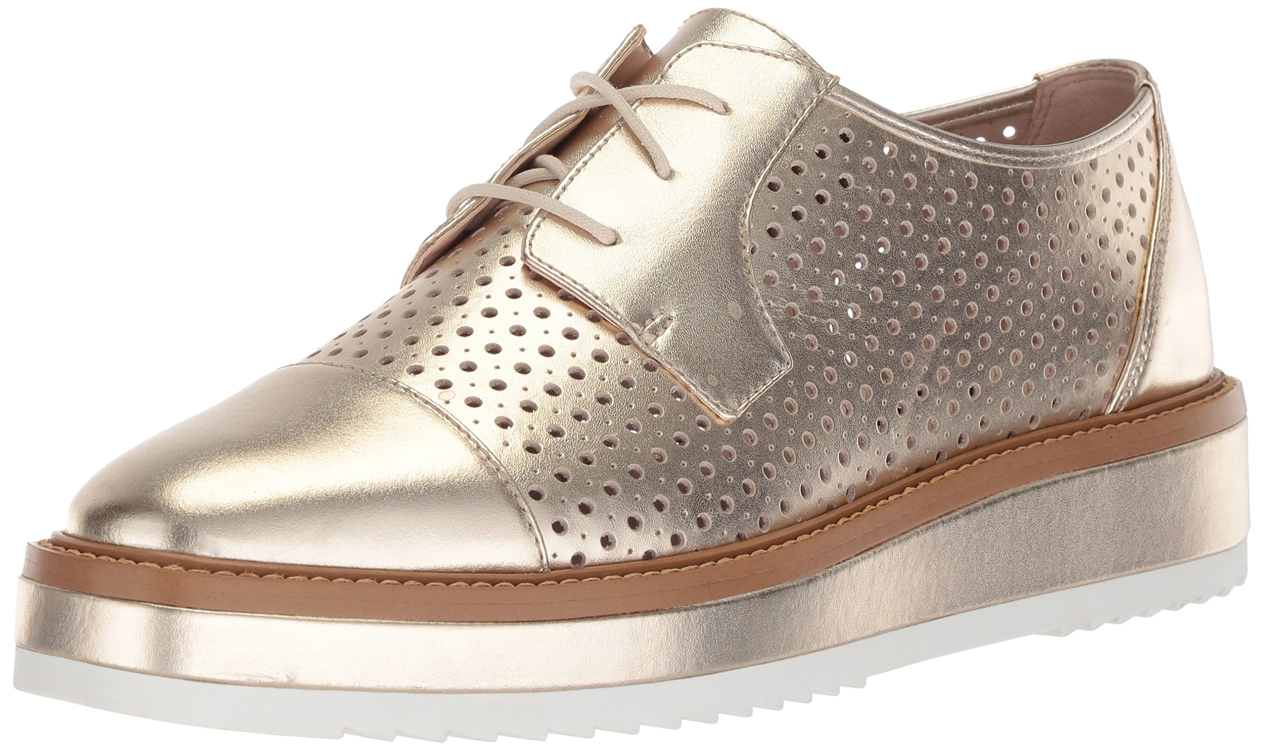 Nine West Women's Verwin Metallic Oxford Flat, Light Gold/Metallic, 6 Medium US
