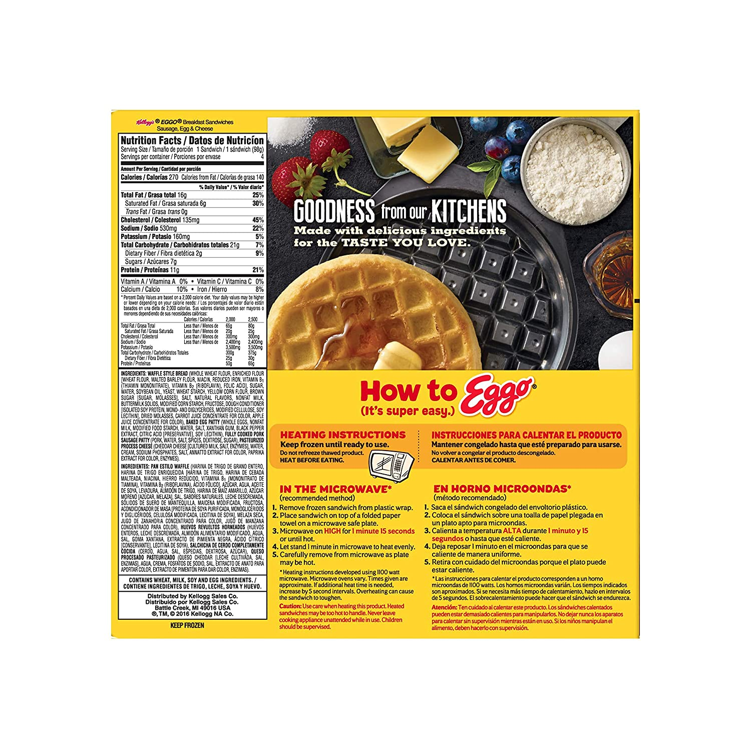 Kelloggs Eggo, Breakfast Sandwiches, Sausage, Egg and Cheese, Single Serve, 13.8 oz Box (4 Count)