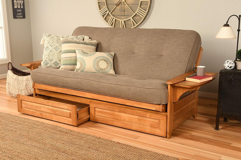 Kodiak Furniture Phoenix Full Size Futon in Butternut Finish with Storage Drawers, Linen Stone