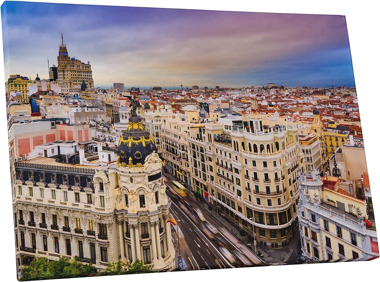 Amazon Com Pingo World 0901q2z75la Madrid City Center Skyline I Gallery Wrapped Canvas Wall Art Print 45 X 30 Variable Posters Prints