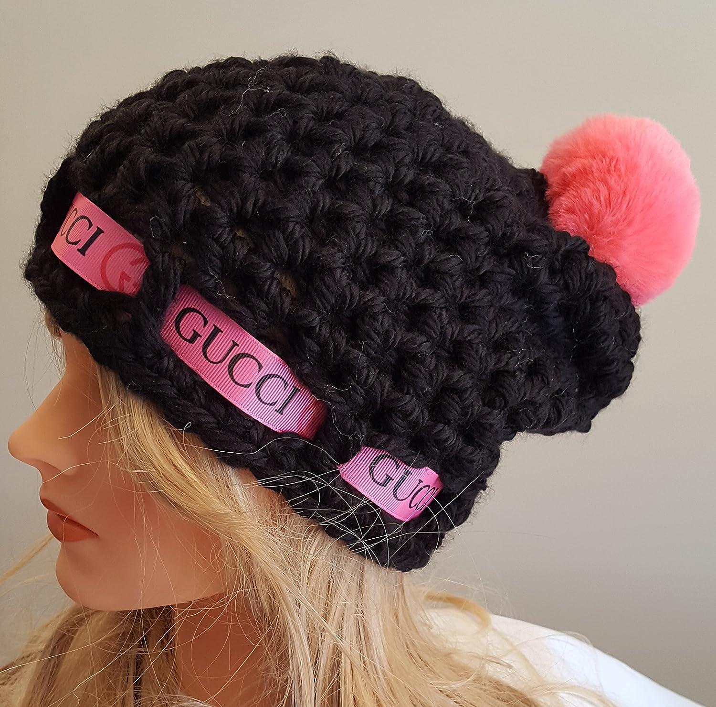 e0a780aa1b30 Amazon.com  Crochet GUCCI inspired pom pom hat. Made by Bead Gs on AMAZON.  Ladies Size.  Handmade