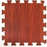 Materassino effetto legno in schiuma ad incastro - Perfetto come piano di protezione, in garage, per esercizio fisico, lo yoga, la stanza dei giochi. Schiuma EVA (9 piastrelle, colore cioccolato)