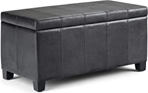 Simpli Home AXCOT-223-DBL Dover 36 inch ContemporaryStorage Ottoman in Distressed Black Faux Air Leather