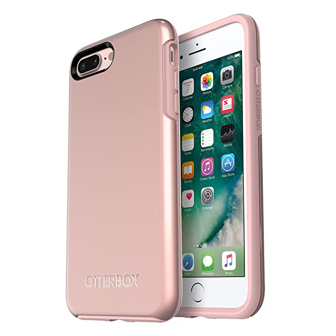 finest selection 438d5 d6614 OtterBox SYMMETRY SERIES Case for iPhone 8 Plus & iPhone 7 Plus - ROSE GOLD  (PALE PINK/ROSE GOLD GRAPHIC) & OtterBox ALPHA GLASS SERIES Screen ...