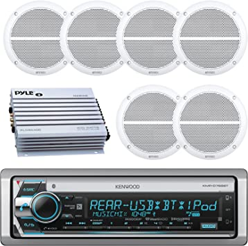 Black Bluetooth Marine Receiver Stereo AM//FM Radio 6.5/'/' Waterproof Speakers 4