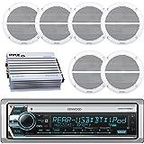 Kenwood Bluetooth CD MP3 USB AUX AM/FM Marine Boat Stereo Receiver 6x 6.5 Dual Cone Marine Speakers 4 Ch Waterproof 400 Watt Amplifier