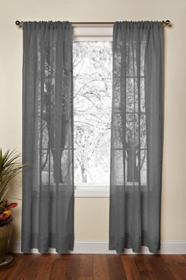Amazon.com: Cotton Craft - Pure 100% Linen Rod Pocket Window ...