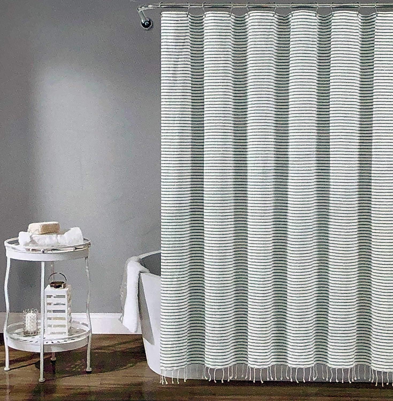Lush Decor Fabric Shower Curtain Thin Gray Horizontal Stripes on White with White Diamond Stitching and a Tassel Fringe Edge