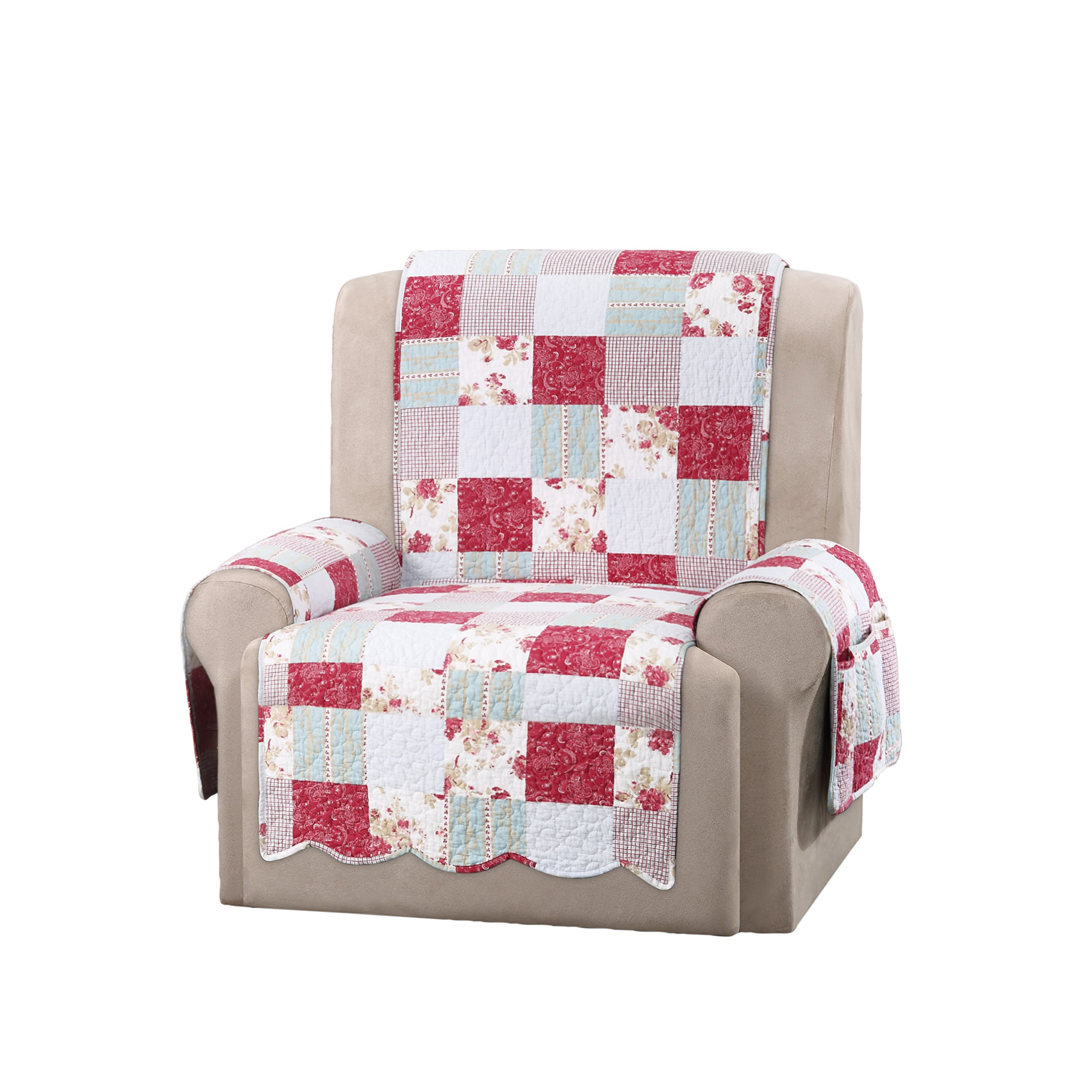 Sure Fit SF46474 Heirloom Quilted Wing Chair/Recliner Pet/Slipcover with Pocket Arms, Cottage Patchwork