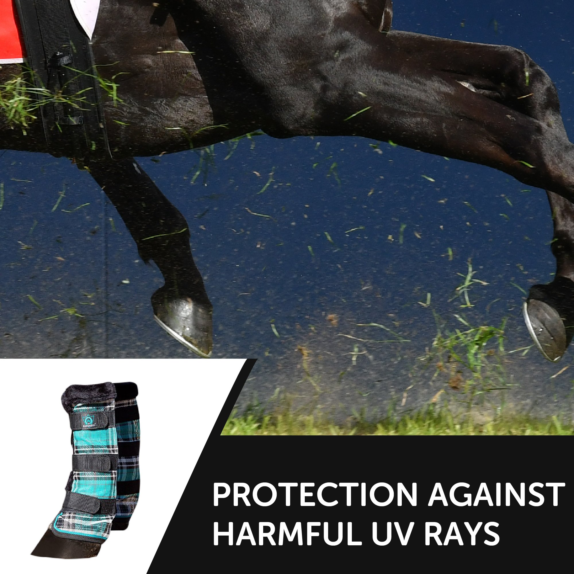 Kensington Horse Fly Boots with Comfortable Fleece Trim — Stay-Up Technology with Velcro Straps — Protection from Insect Bites and UV Rays — Sold in Pairs of 2 (Black Ice Plaid) by kensington products (Image #6)