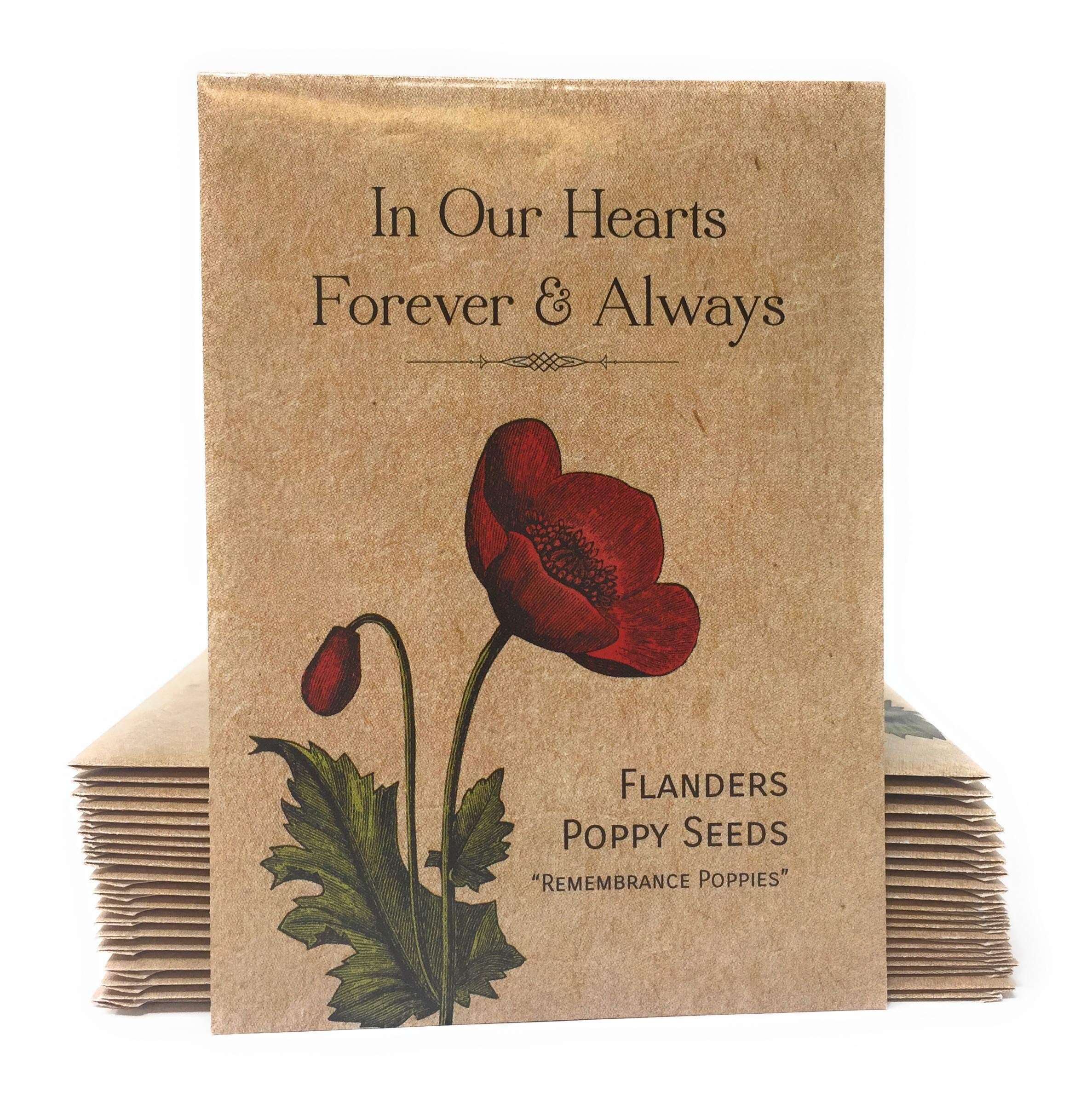 in Our Hearts Forever and Always''Remembrance Poppies'' - Individual Red Flanders Poppy Seed Packet Favors - Already Filled - Pack of 20