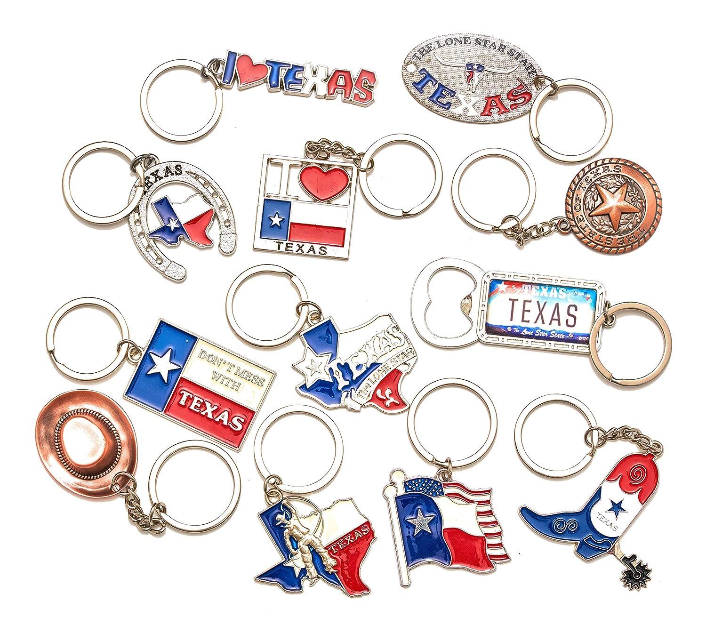 Texas Bundle Souvenir Metal Keychain 12 Pack-Texas Cowboy,Texas Lone Star on Texas State Map, Dont Mess with Texas, I Love Texas, Longhorn, Texas ...