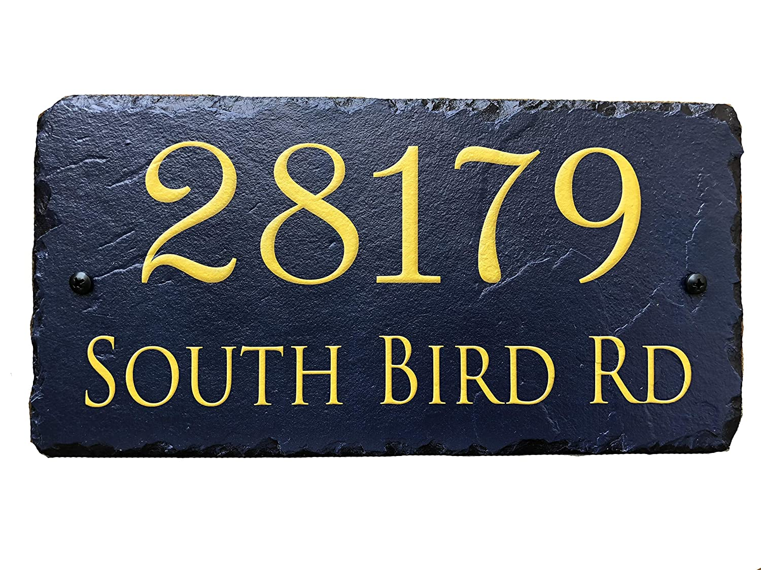 Sassy Squirrel Handcrafted and Customizable Slate Home Address Plaque Gold/Silver on Blue (12x6) Sassy Squirrel Ink 5355925225138