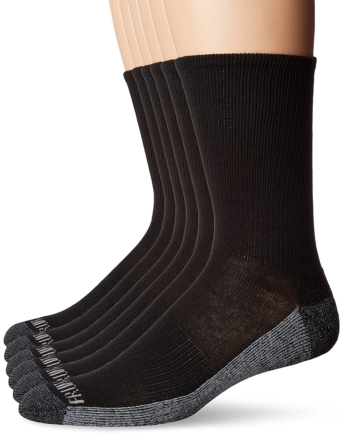 Fruit of the Loom Men's Essential 6 Pack Casual Crew Socks | Arch Support | Black & White