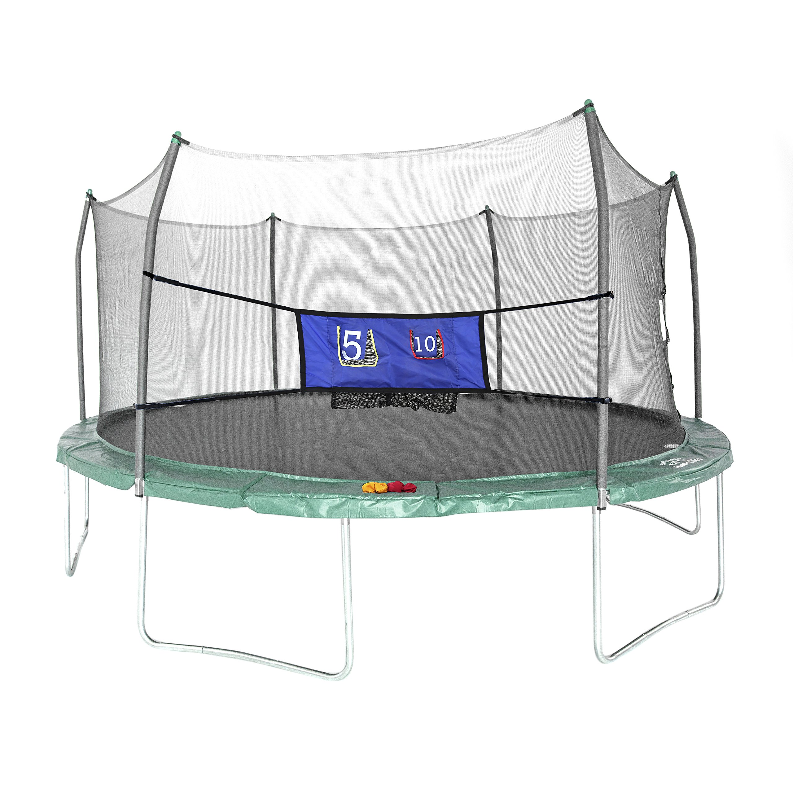 Skywalker Trampolines Oval Trampoline with Enclosure and Double Toss Game, Green, 16'