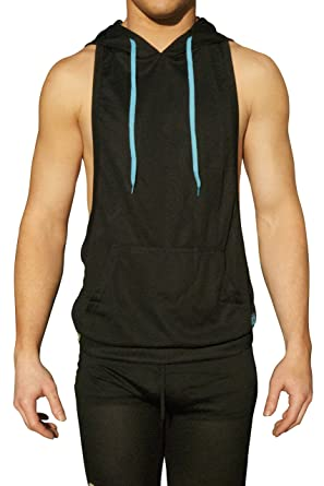 b3930cb7a39982 NeonNation Muscle Cut Athletic Bodybuilder Stringer Tank Top Hoodie (Black  w Aqua Draw Strings