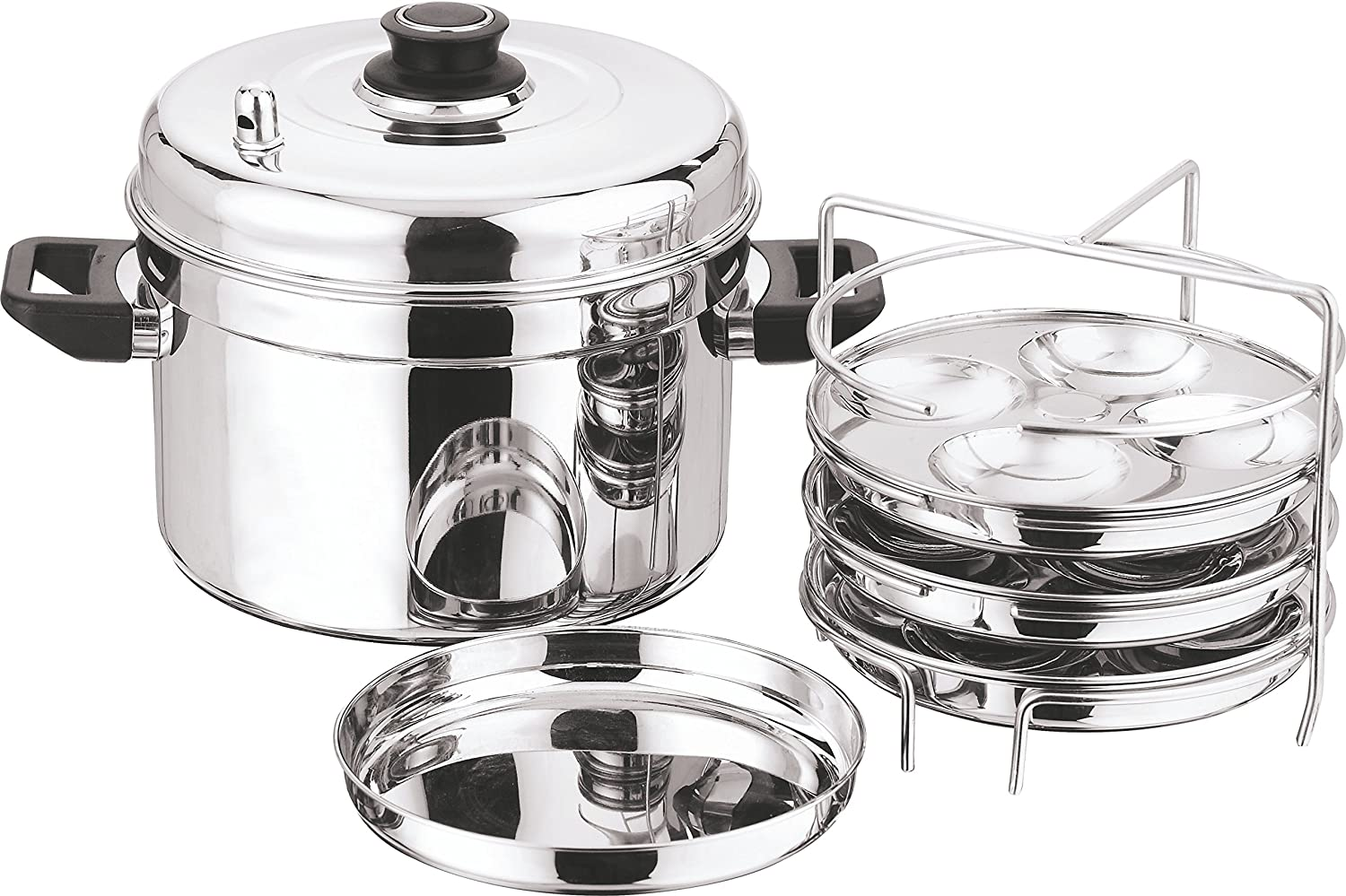 Vinod Cookware 202 Multi Pot With Idli And Dhokla Plate Silver Large, 9-Pieces by Vinod Cookware   B00NEJ22F0
