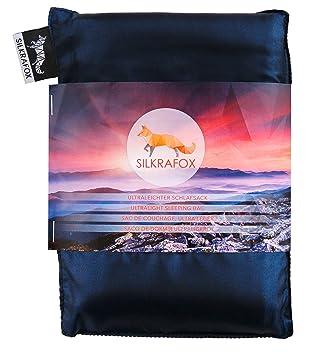 Silkrafox Saco de dormir ultraligero para las excursiones de senderismo, los viajes, las acampadas, seda artificial, azul: Amazon.es: Deportes y aire libre
