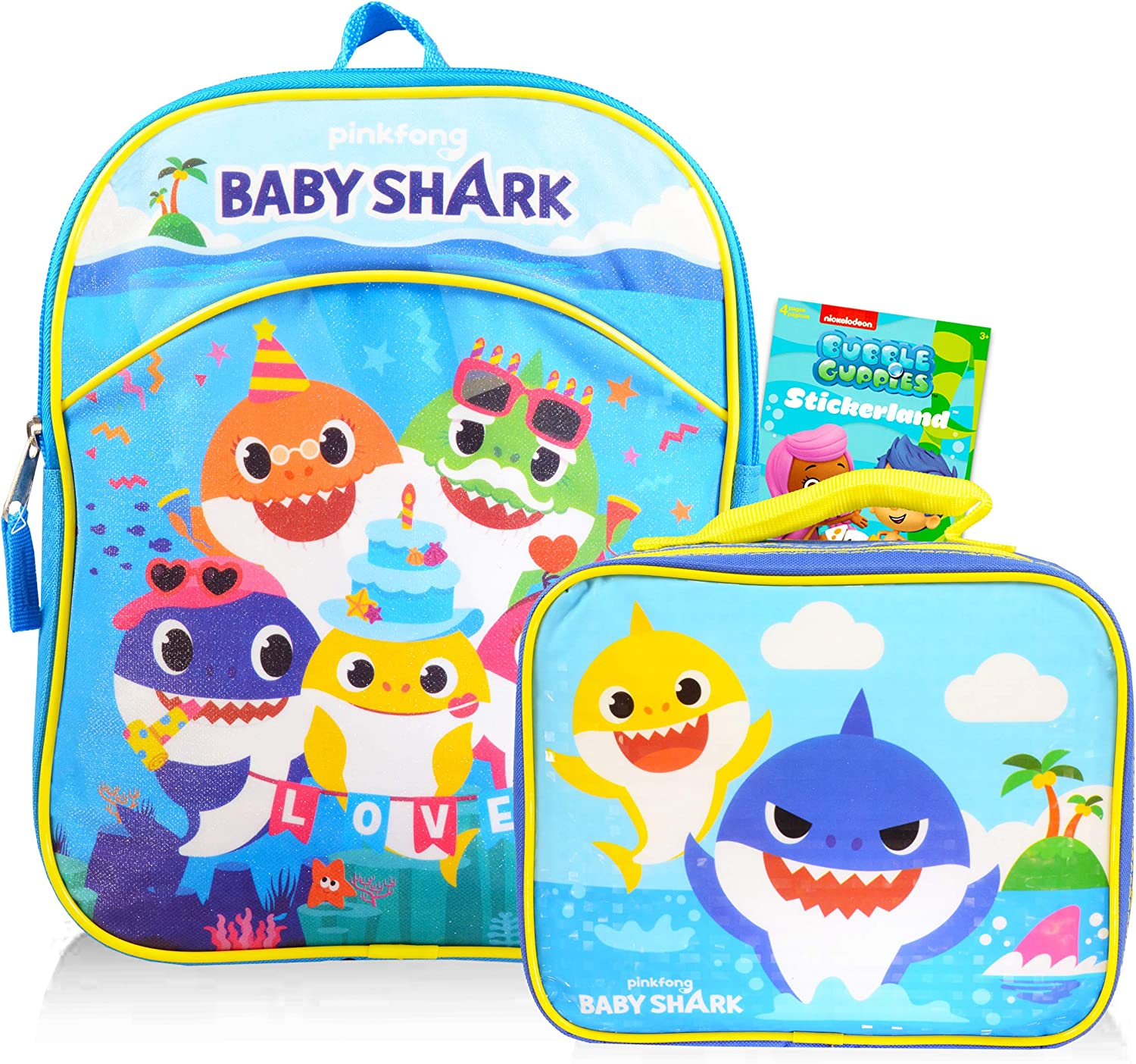 Baby Shark Mini Backpack with Lunch Bag for Kids with Stickers (Baby Shark School Supplies Bundle)