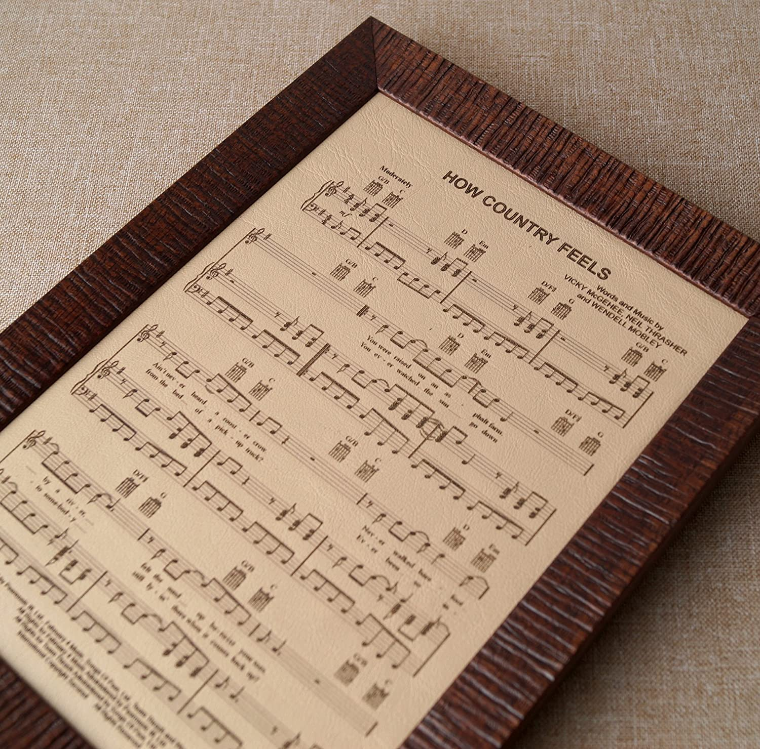3rd Wedding Anniversary Gift.3rd Wedding Anniversary Gift Leather Engraving Music Notes