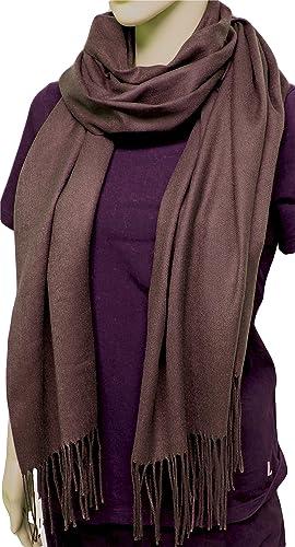 FIA MONETTI Bufanda de mujer Cashmere – Marrón – 170 x 66 cm – en un diseño atemporal – ¡un accesorio ideal para cada atuendo!
