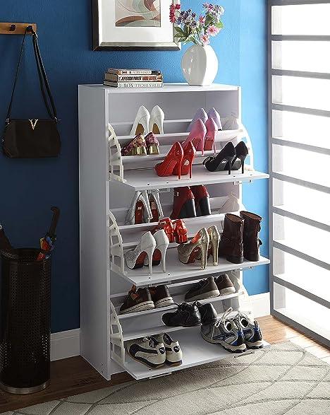 Amazon.com: 4D Concepts Deluxe Triple Shoe Cabinet, White: Kitchen ...