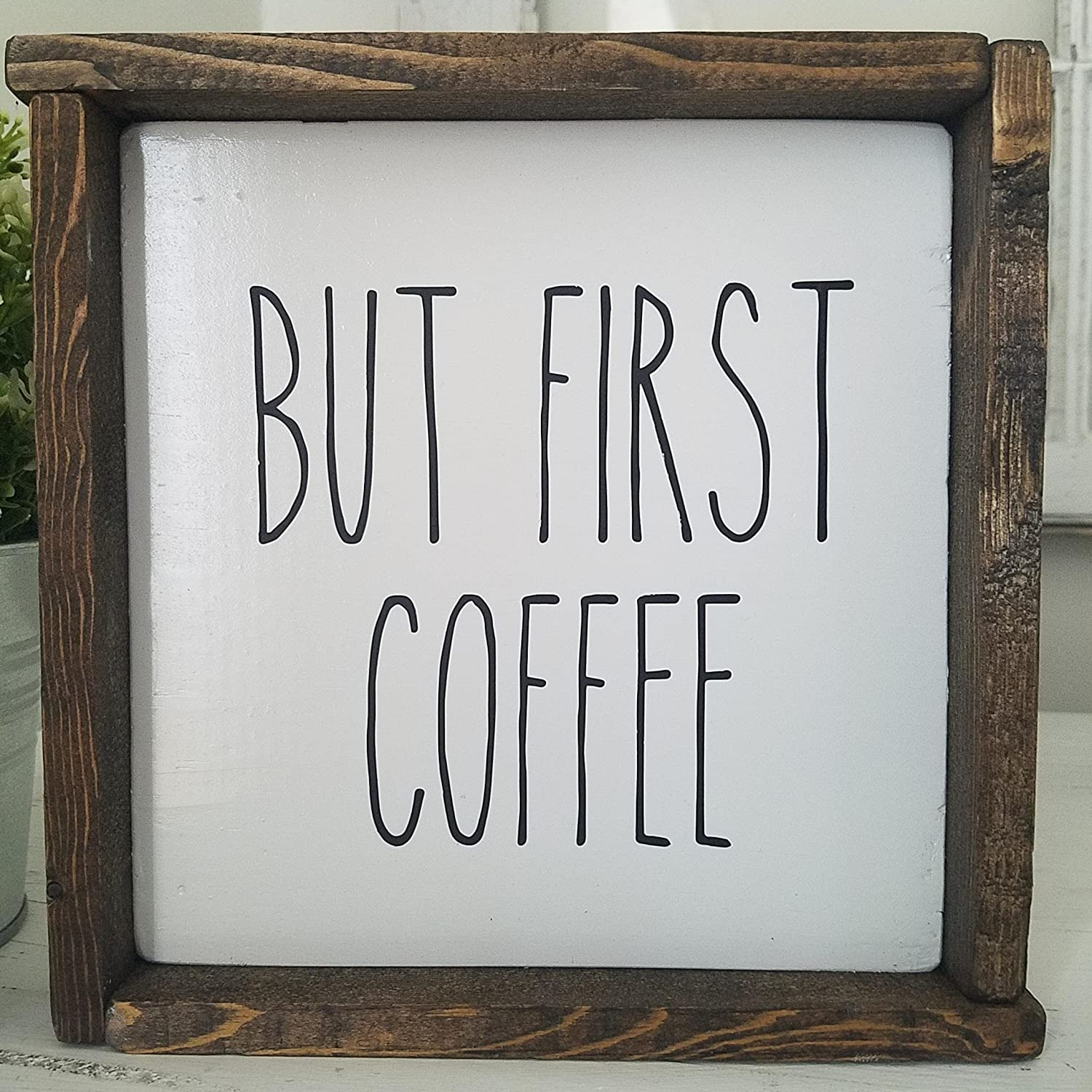 But First Coffee Framed Farmhouse Wood Kitchen Sign