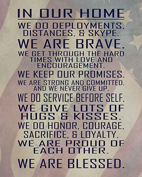 Simply Remarkable Military Family Wall Poster Print - in Our Home - House Rules - Army, Navy, Marines, Air Force - Patriotic - 4th of July - Frame NOT Included (8x10, Flag)