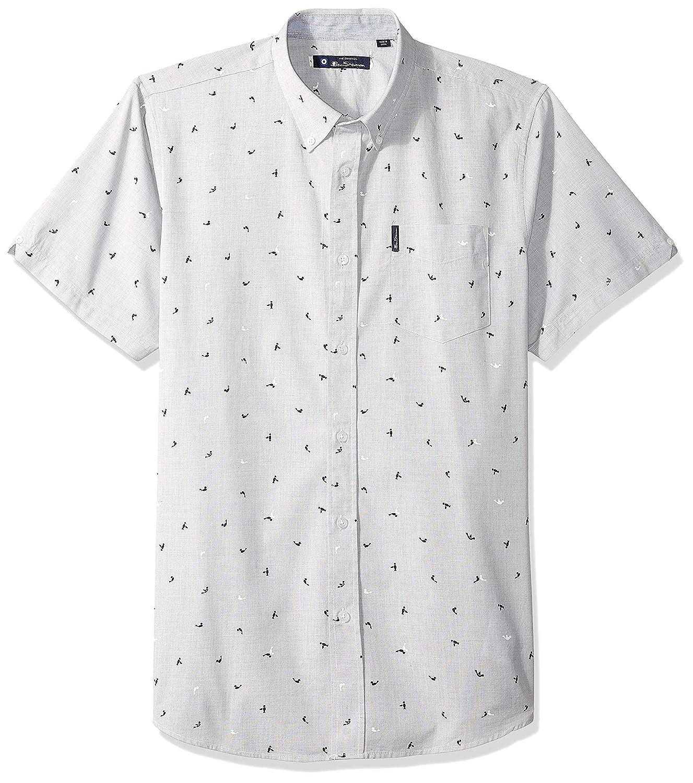 Ben Sherman Mens Ss Slub Bird PRNT Shirt