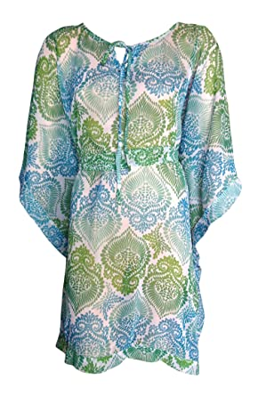 0feff9e951 SUNROSE Sheer Chiffon Material Short Beach Cover up Kaftan Caftan Tunic  Top: Amazon.in: Clothing & Accessories