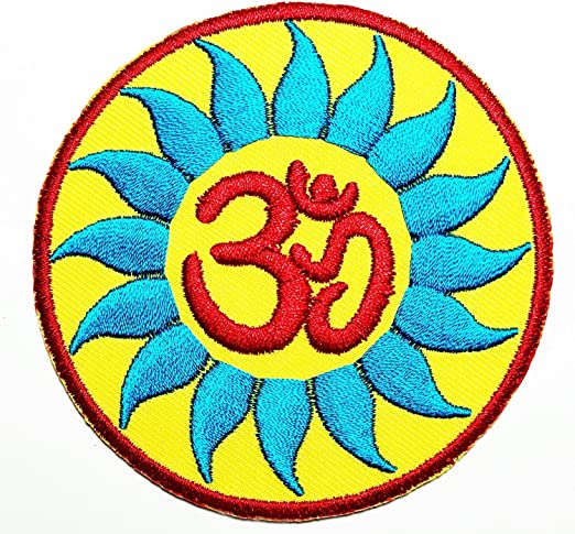 Aum Om Ohm Hindu - Parche de yoga indio de loto bordado para coser ...