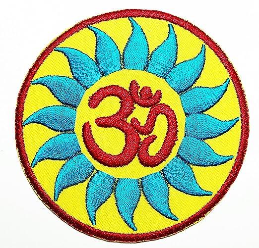 Aum Om Ohm Hindu - Parche de yoga indio de loto bordado para ...
