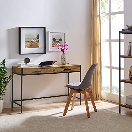 Writing Desk by CAFFOZ Furniture Designs | Study Computer Desk | Oak Brown  | Laptop PC Table Workstation with 2 Drawers for Home Office | Storage ...