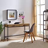 Writing Desk by Caffoz | Study Computer Desk | Oak Brown | Laptop PC Table Workstation with 2 Drawers for Home Office…