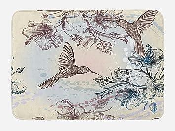 Hummingbird Bath Mat By Ambesonne, Birds And Hibiscus Flowers Nostalgia  Antique Artistic Design Classical Print
