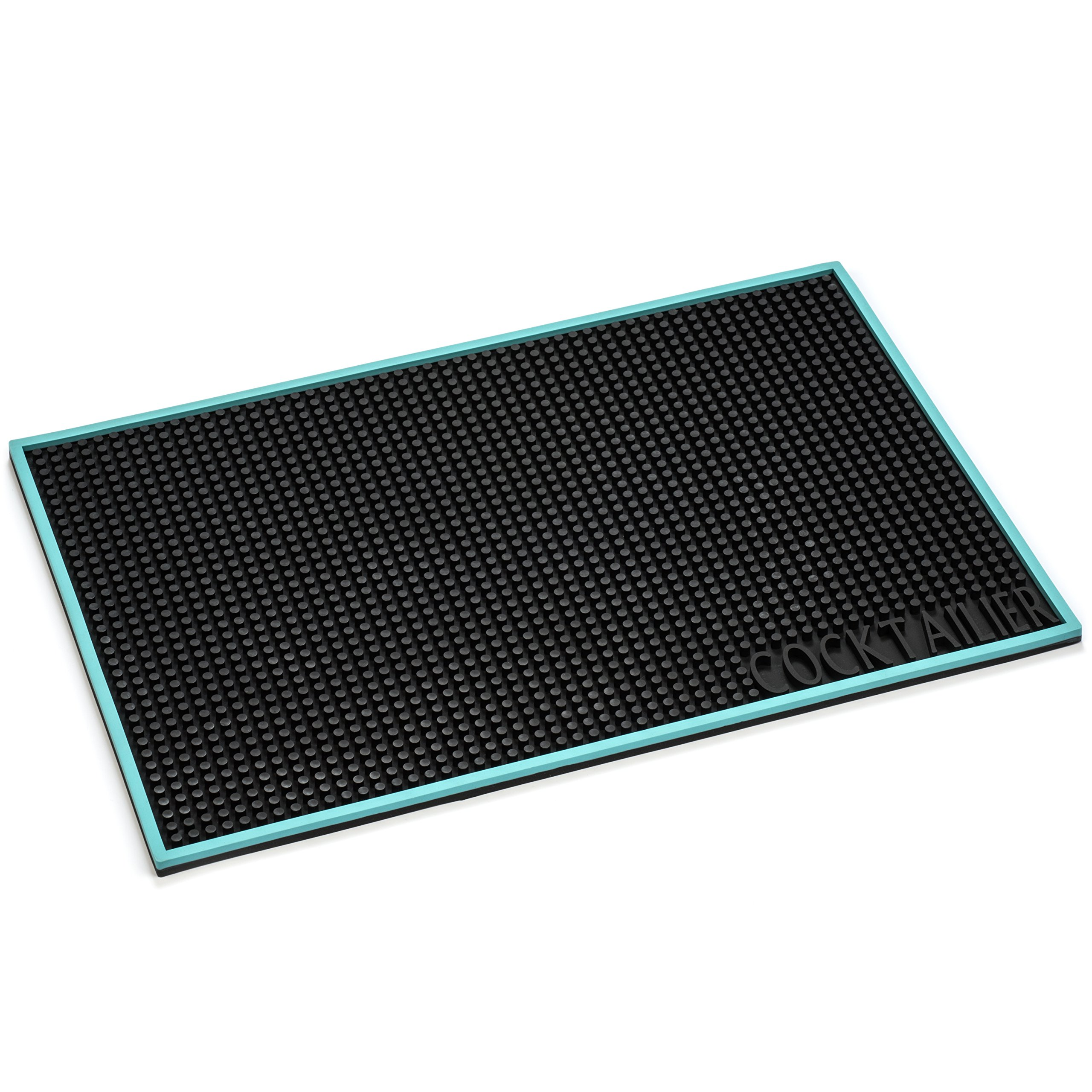 Cocktailier Professional Heat Resistant Rubber Non Slip Bar Mat, 18 x 12 inch, LIMITED EDITION with Turquoise Trim