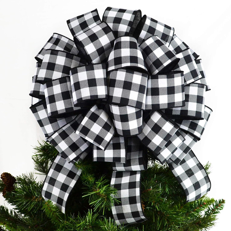 Buffalo Check White Black Bow Tree Topper | Christmas Tree Bow | Big Present Gift Bow | : TB31
