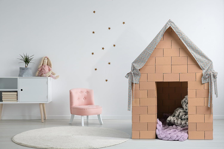 Gigi Bloks Casa de Juegos con Bloques de Construcción Gigantes para Niños | Casita Infantil de Tela y 203 Ladrillos de Cartón | Set de Juguete Montessori ...