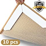 Rug Grippers for Hardwood Floors, Anti Curling Anti Slip Rug Gripper, 10pc Non Skid Rug Pads Area Rug Corner Gripper, Carpet Stopper with Reusable Gripper Tape– Ideal for Carpet Tile Floors