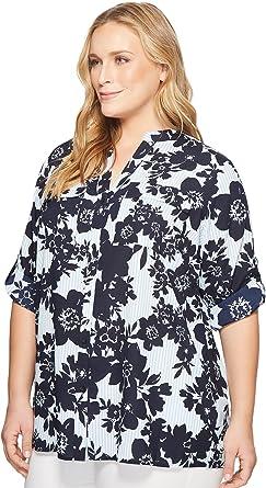 e084cf02250 Calvin Klein Plus Women s Plus Size Printed Roll Sleeve Blouse Indigo Multi  2X (US 20W) at Amazon Women s Clothing store